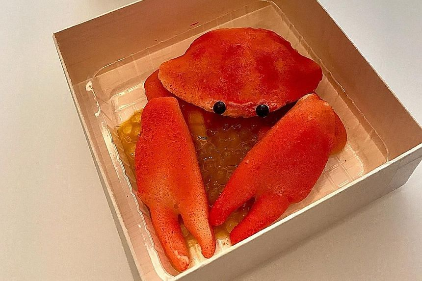 Visitors at the Singapore: A chilli crab-inspired dessert (above) that costs $30 is on sale at Dominique Ansel Bakery's Omotesando store until Sept 10.