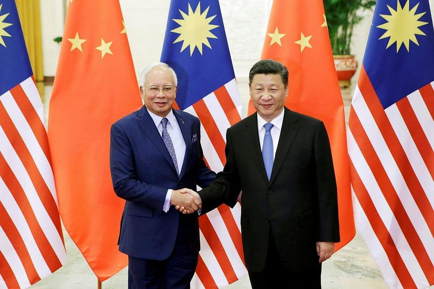 Malaysian Prime Minister Najib Razak and Chinese President Xi Jinping ahead of the Belt and Road Forum in Beijing, China on May 13, 2017.