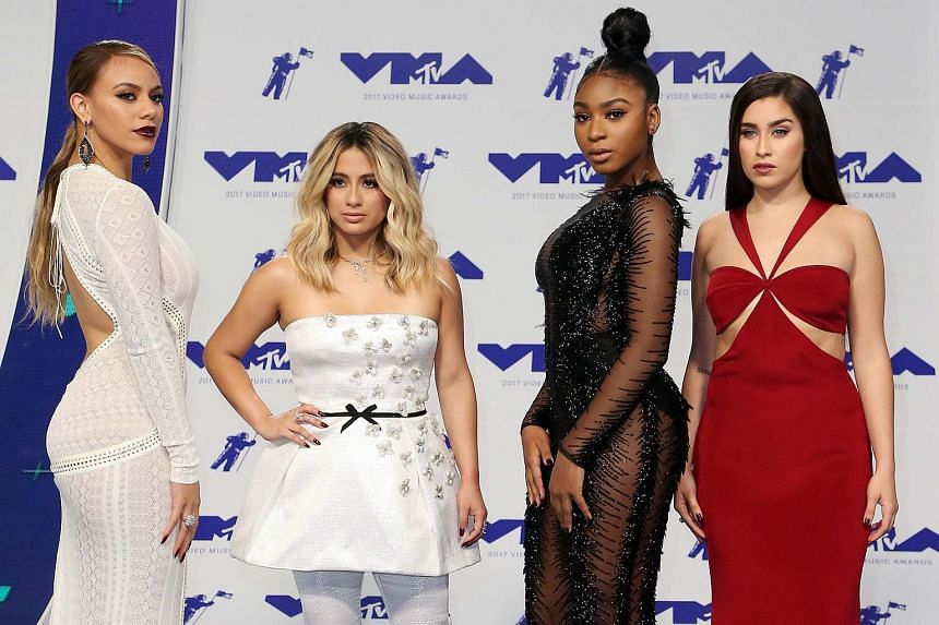 Members of Fifth Harmony arrive on the red carpet for the 34th MTV Video Music Awards (VMA) at The Forum in Inglewood, on Aug 27, 2017.