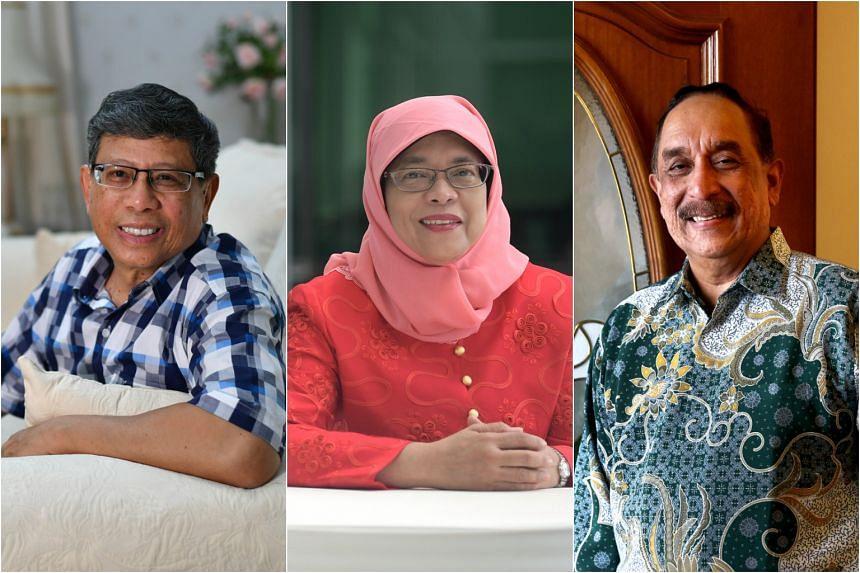 (From left) Presidential hopefuls Salleh Marican, Halimah Yacob and Farid Khan.