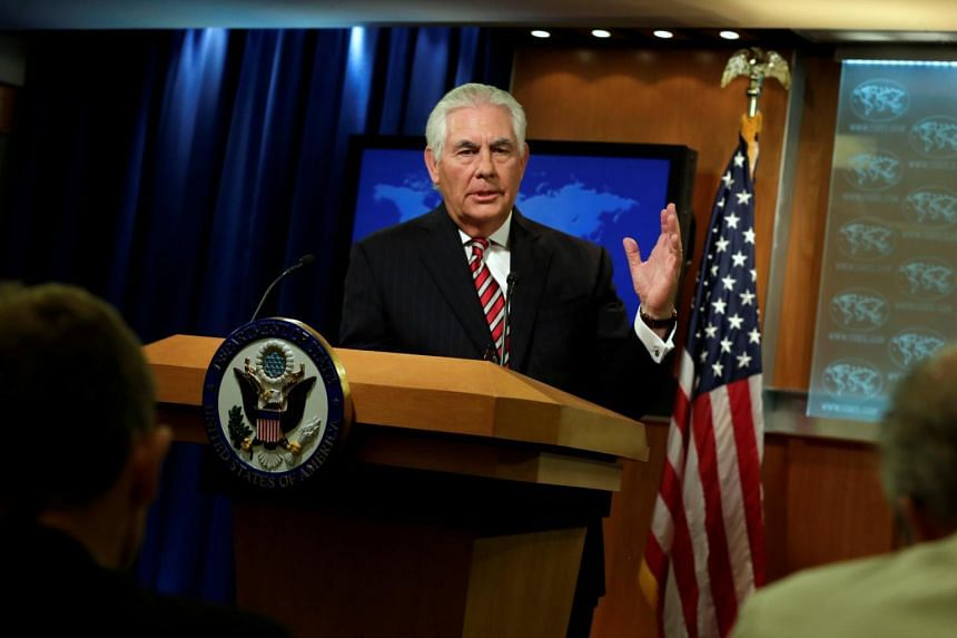 Rex Tillerson speaks at a press briefing at the State Department in Washington on Aug 22, 2017.