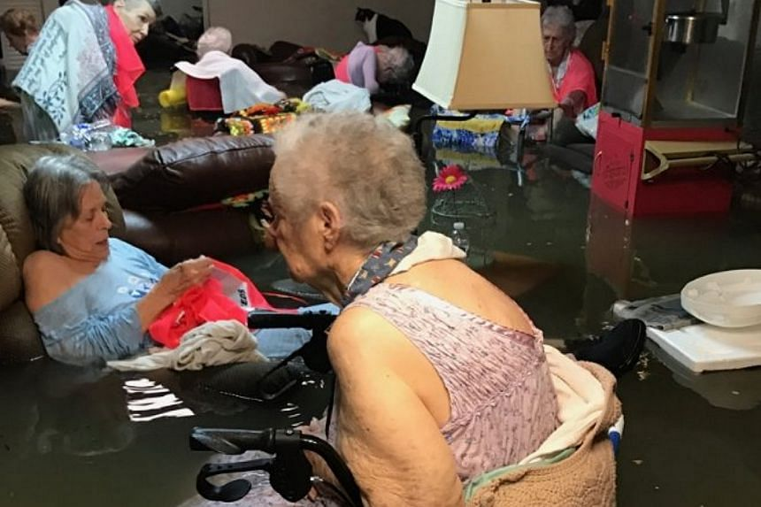 Floodwaters engulf residents at the La Vita Bella nursing home in Dickenson, Texas on Aug 27, 2017.  The US Coast Guard later rescued at least 25 from the home, CNN reported.