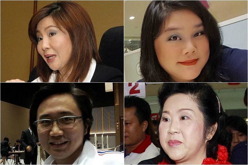 (Clockwise from top left) Ms Monthathip, one of Yingluck's sisters, Ms Chayika Wongnapachant, Yingluck's niece, Ms Yaowapa, another of Yingluck's sisters, and Ms Yaowapa's son, Dr Yodchanan Wongsawat.