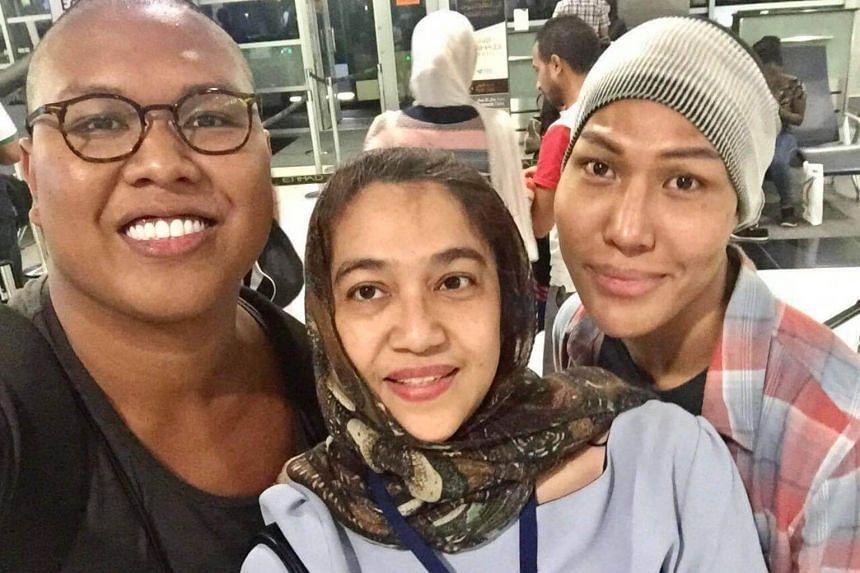 (From left) Fashion photographer Muhammad Fadli Abdul Rahman (left), 26, Sharifa Alwiyah Mohsen Aljunied of the Singapore Embassy in Abu Dhabi and Nur Qistina Fitriah Ibrahim, 37.
