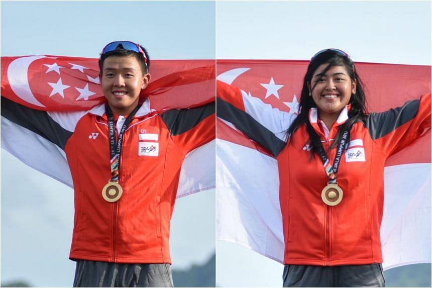 Ryan Lo (left) and Jillian Lee won golds in the Laser Standard and women's Laser Radial events respectively on Aug 29, 2017.