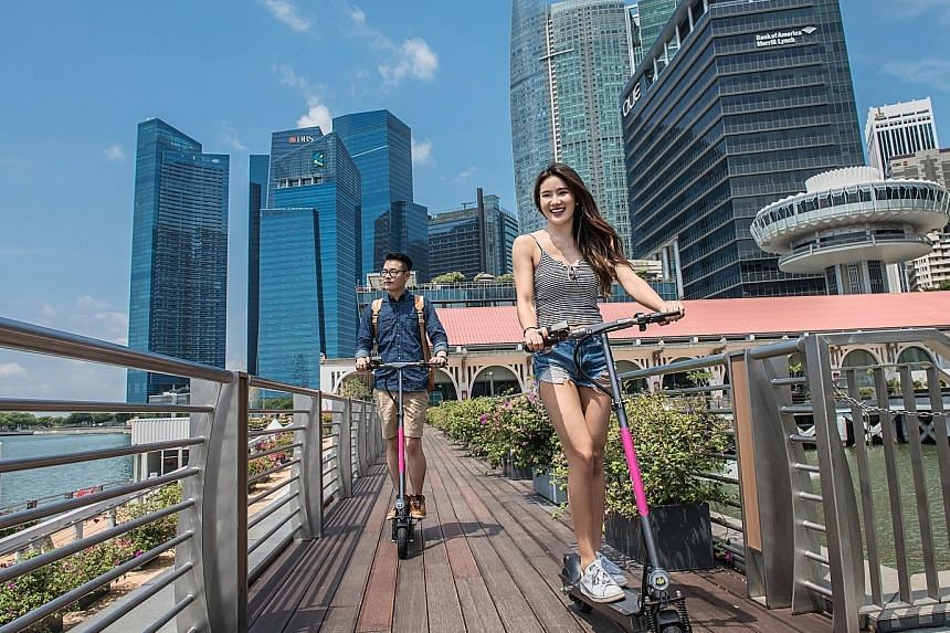 Singapore-based company PopScoot, which started in April this year, will bring the service to downtown commercial clusters and the heartland next month. PopScoot will run on a Bluetooth app-based unlocking system, releasing the e-scooters from their