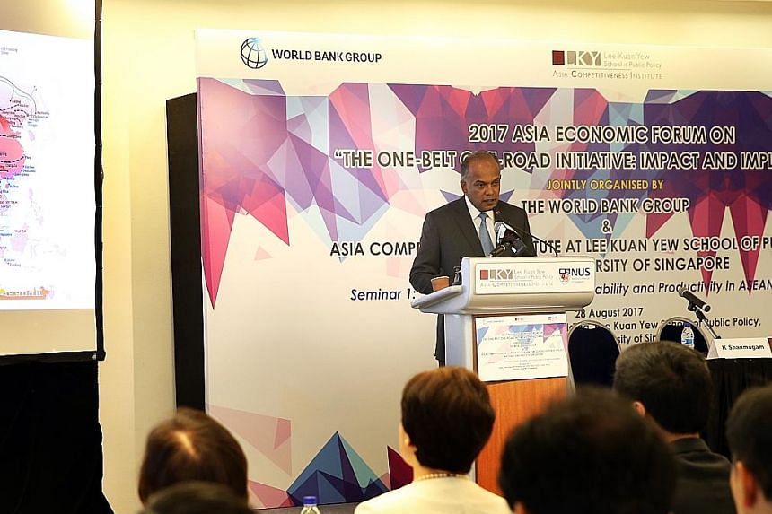 Home Affairs and Law Minister K. Shanmugam speaking at the 2017 Asia Economic Forum at the Lee Kuan Yew School of Public Policy yesterday.