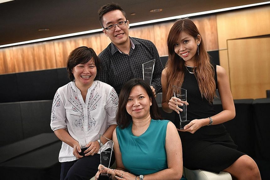 From left: Ms Tan Woon Foon of Teck Whye Primary School, Mr Melvin Wang of Rosyth School, Ms Bek Su Ling of the School of Science and Technology, and Ms Mavis Ho of Pasir Ris Secondary School.