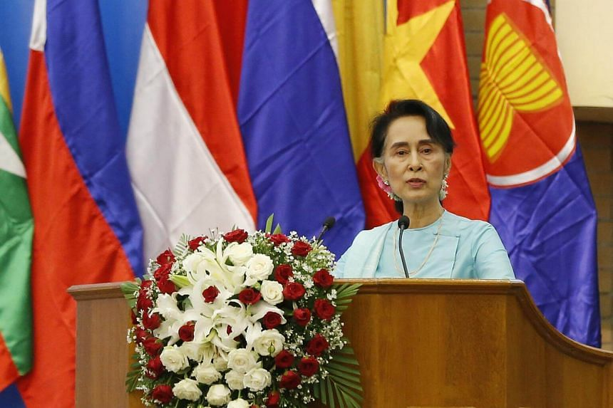 Myanmar's State Counsellor Aung San Suu Kyidelivers a speech on Aug 14, 2017.