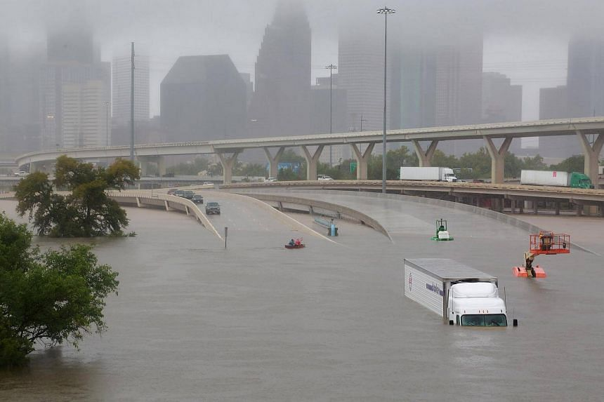 Interstate highway 45 is submerged from the effects of Hurricane Harvey in Houston, on Aug 27, 2017.