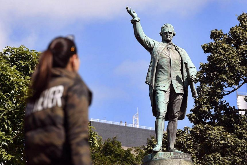A statue of Captain James Cook stands in Sydney's Hyde Park on Aug 25, 2017.