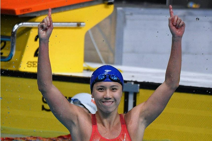 Amanda Lim celebrates after winning the 50m freestyle at the SEA Games 2017.