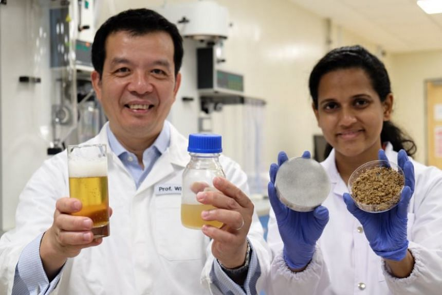 Prof William Chen and PhD student Sachindra Cooray developed the new process to turn spent beer grains into a valuable liquid used to grow yeast. The items they are holding (right to left) are the brewer's spent beer grains, the fermented spent bee