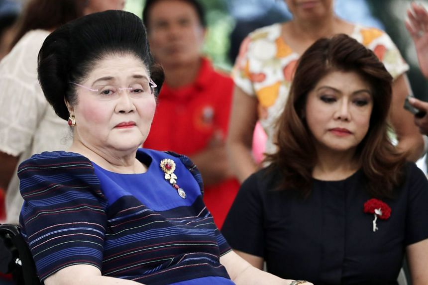 Former Philippines First Lady and current congresswoman Imelda Marcos (left) with daughter, Ilocos Norte Governor Imee Marcos (right).