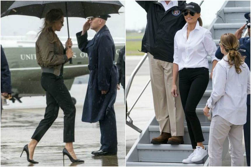 First Lady Melania Trump was spotted wearing a pair of stilettos (left) and a pair of sneakers (right).