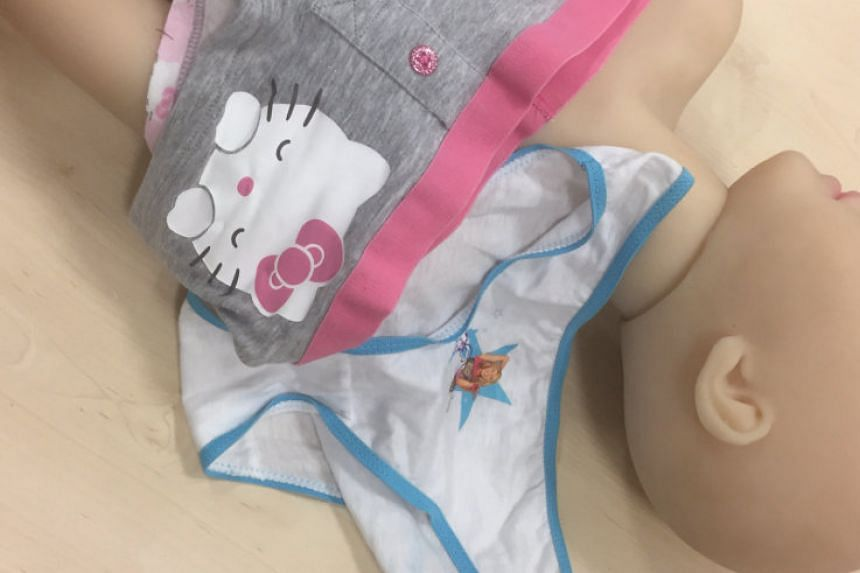 Children's underwear bought for a lifelike child sex doll imported from China in a crime handout photo