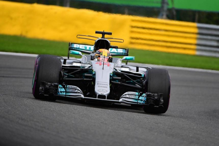 Mercedes' British driver Lewis Hamilton drives during the Belgian Formula One Grand Prix at the Spa-Francorchamps circuit in Spa on Aug 27, 2017.