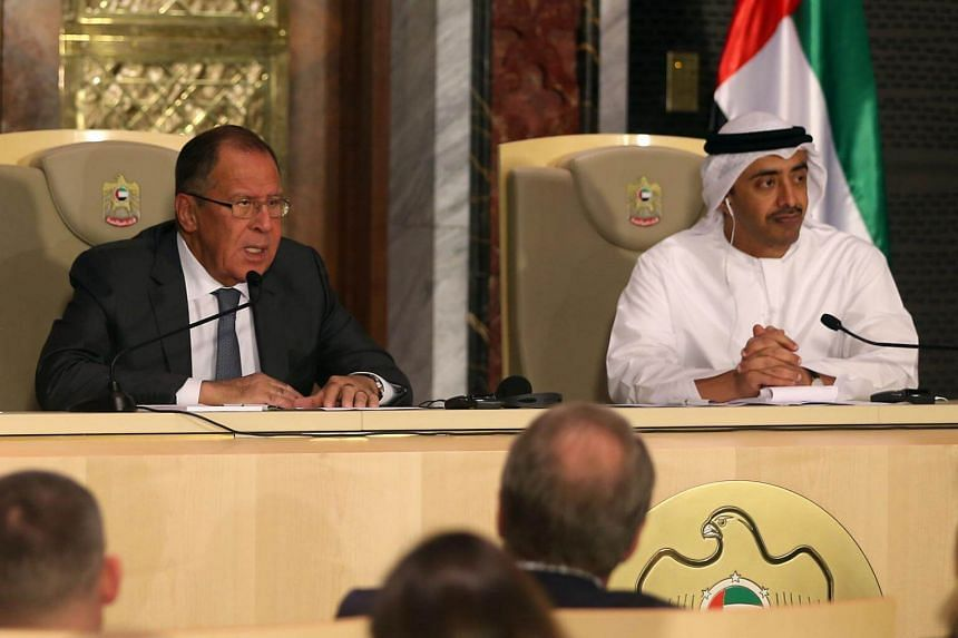 Russia's Foreign Minister Sergei Lavrov (left) and UAE's Minister of Foreign Affairs and International Cooperation Abdullah bin Zayed Al-Nahyan give a press conference in Abu Dhabi on Aug 29, 2017.