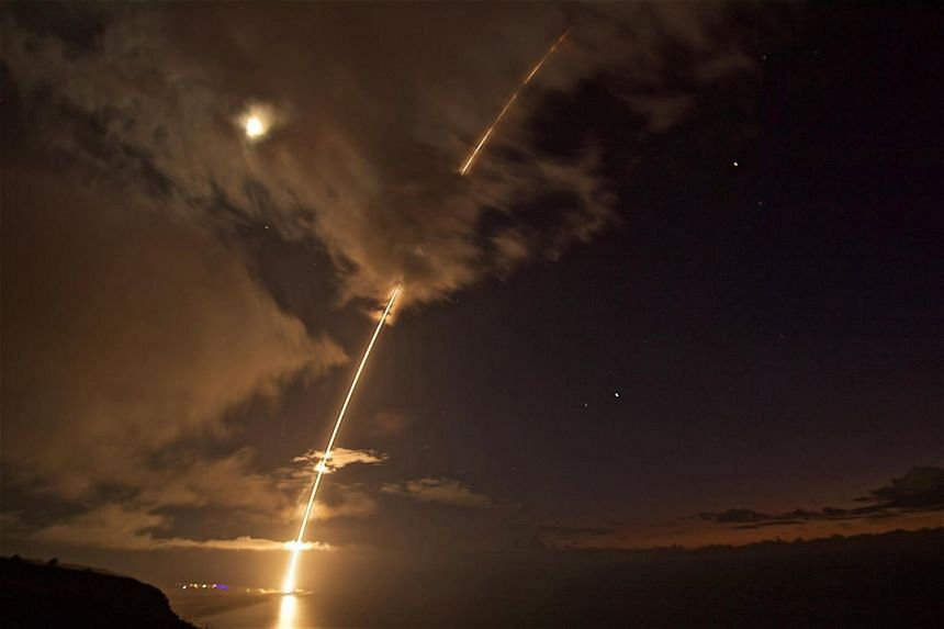 A medium-range ballistic missile target is launched from the Pacific Missile Range Facility on Kauai, Hawaii, during Flight Test Standard Missile-27 Event 2 (FTM-27 E2) on Aug 29, 2017.