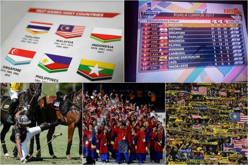 (Clockwise from top left) A misprinted Indonesian flag, Malaysia's national broadcaster RTM got eight of 11 flags wrong in a medal tally, Malaysian football fans cheer during their semi-final football match, athletes and officials of Malaysia during