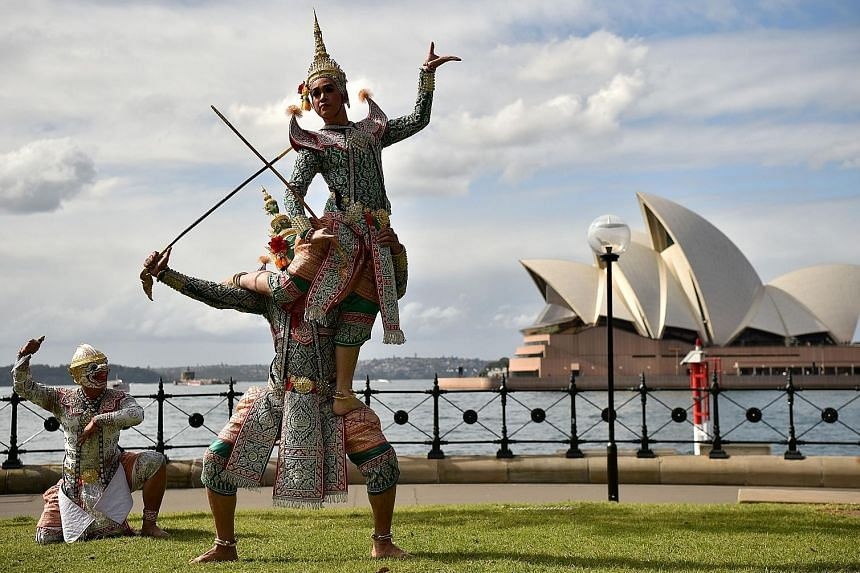A troupe of 56 Thai Khon mask dancers performed at the Sydney Opera House last night, two years after gaining international fame at London's Royal Albert Hall. The show is part of a one-week cultural trip organised by the Thai ministries of Culture,