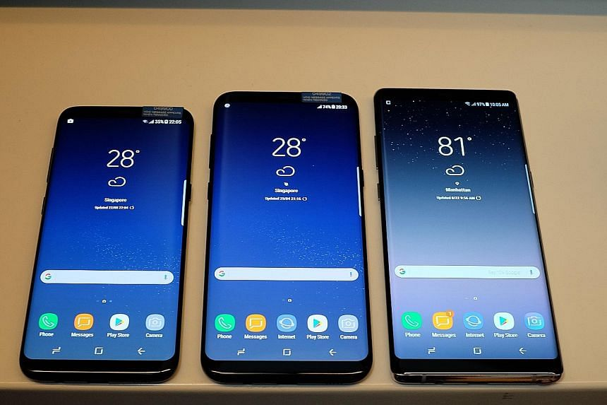 The Galaxy Note8 (right) comes with the latest high-end specs as befitting a 2017 flagship. It is the most expensive Samsung smartphone to date, compared with the S8 (left) and S8+ (centre) released earlier this year.