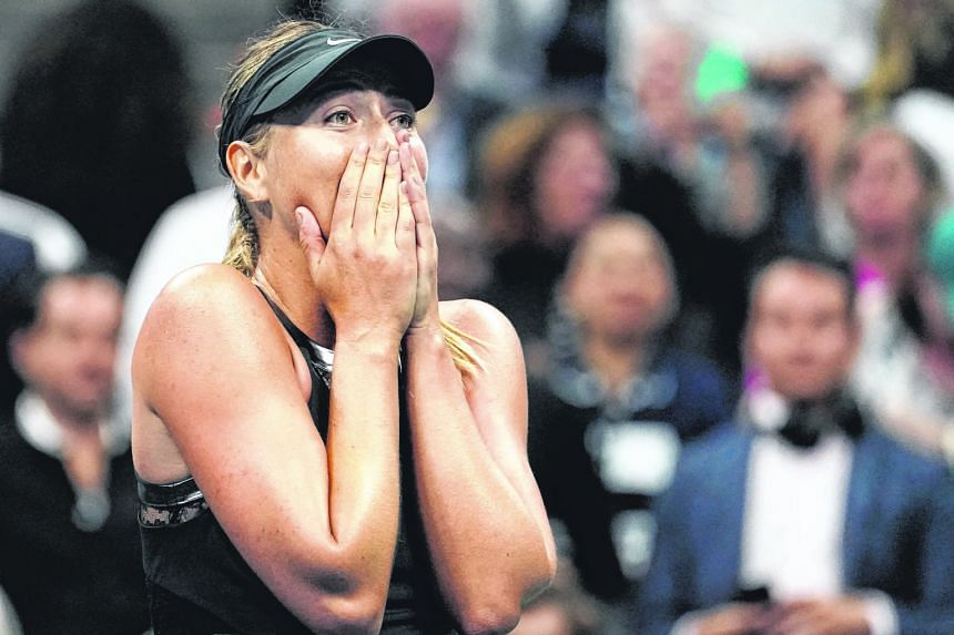 Maria Sharapova reacting with glee after beating second seed Simona Halep in the first round of the US Open. The Russian was playing her first Grand Slam match since her suspension.