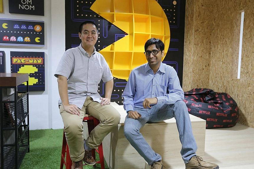 Movel AI co-founders Bai Haoyu (left) and Abhishek Gupta use cameras for computer vision. They take the input from the camera, and get feature points from the existing environment. Through their software, the robot gets more information about its sur
