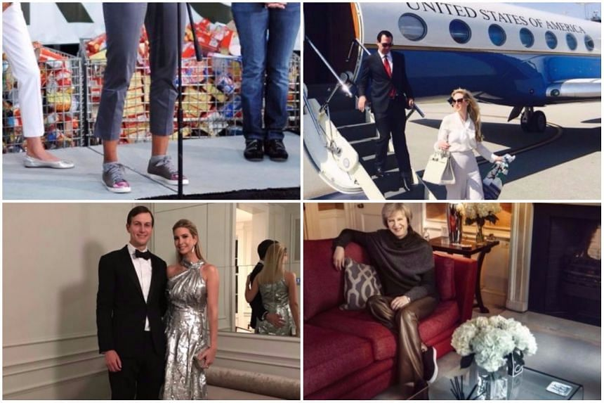 Clockwise from top left: Michelle Obama's sneakers, Louise Linton clad in designer labels, Theresa May's gold leather trousers and Ivanka Trump's silver ballgown.