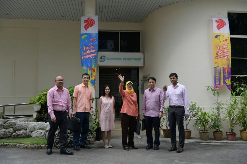 Halimah Yacob with her team at the Elections Department.