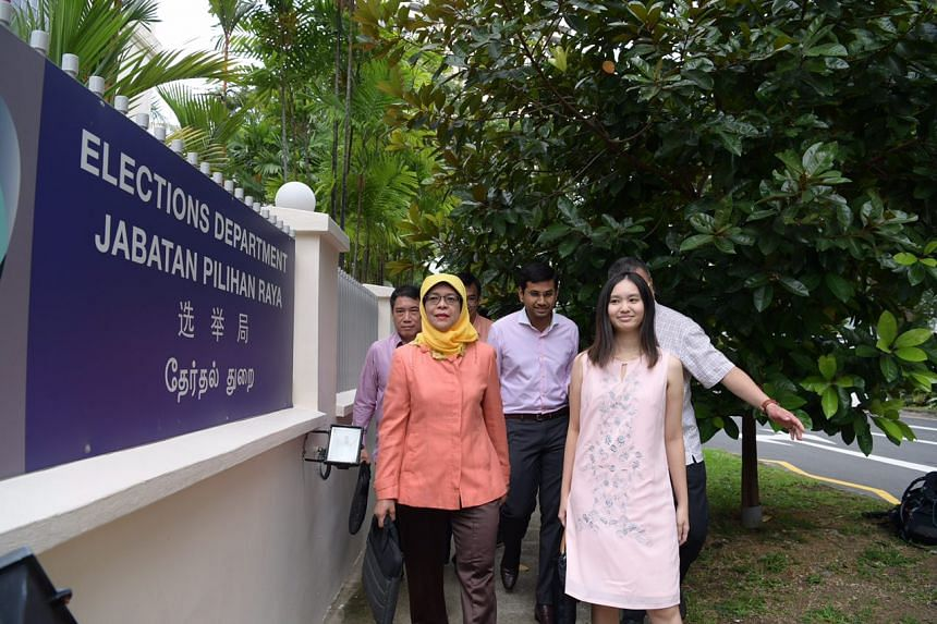 Halimah Yacob arrives at the Elections Department.