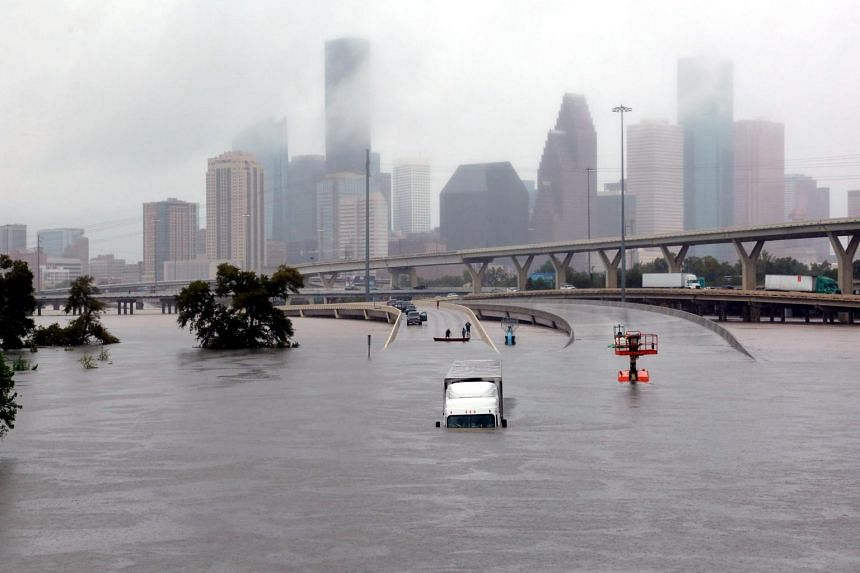 Interstate highway 45 is submerged from the effects of Hurricane Harvey seen during widespread flooding in Houston, Texas, US on Aug 27, 2017.