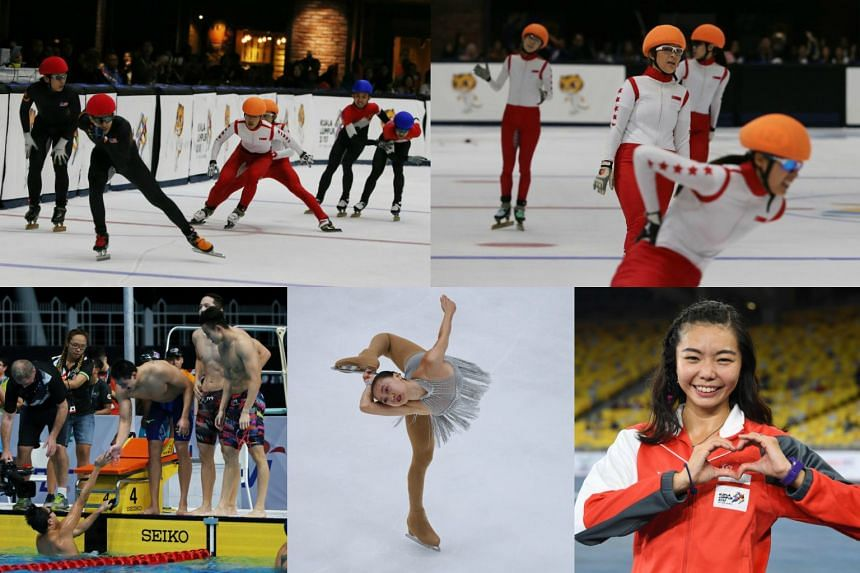 (Clockwise from top left) Speed skaters Lucas Ng, Miki Chong, Chua Qi En and Lim Chia Yeh take the silver in the men's 3,000m relay;  Cheyenne Goh won silver in the women's 1000m event, together with Danielle Han, Deanna See and Chua Suvian; Singapor