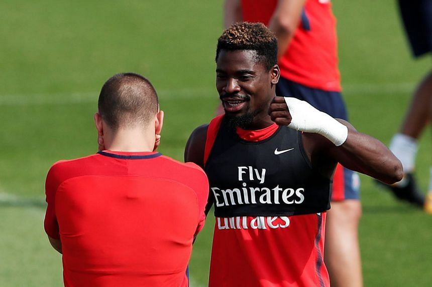 Paris St Germain's Serge Aurier during training.