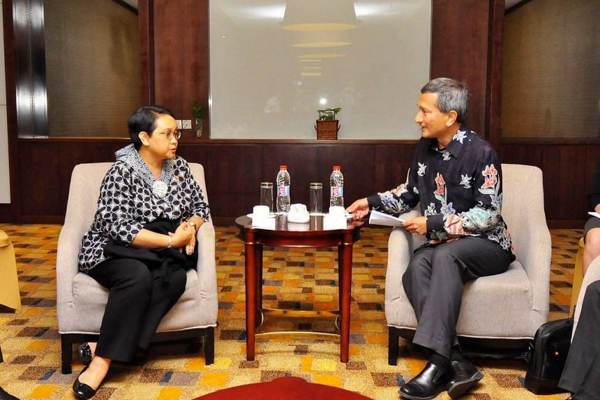 Dr Balakrishnan had a meeting with Indonesia's Minister for Foreign Affairs Retno Marsudi in Batam to discuss the Singapore-Indonesia Leaders' Retreat to be held in Singapore on Sept 7.