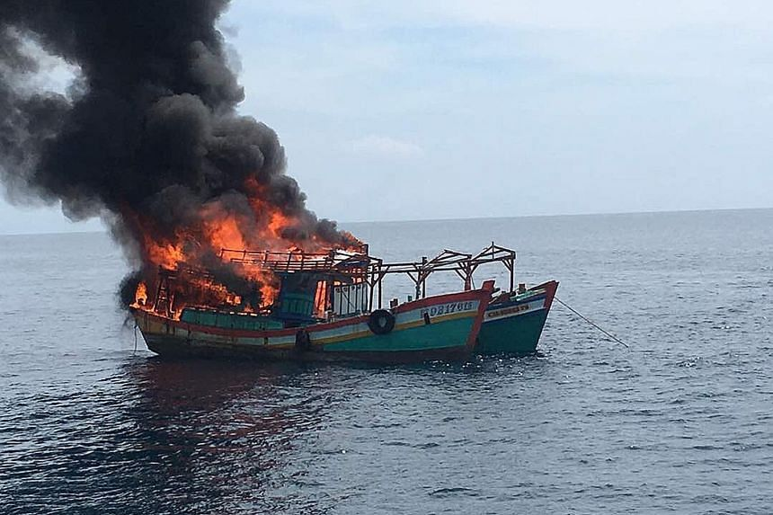 Two vessels, believed to be from Vietnam, were set on fire off the coast of Kelantan. The burning is aimed at sending a clear message that Malaysia is very serious about tackling illegal fishing.