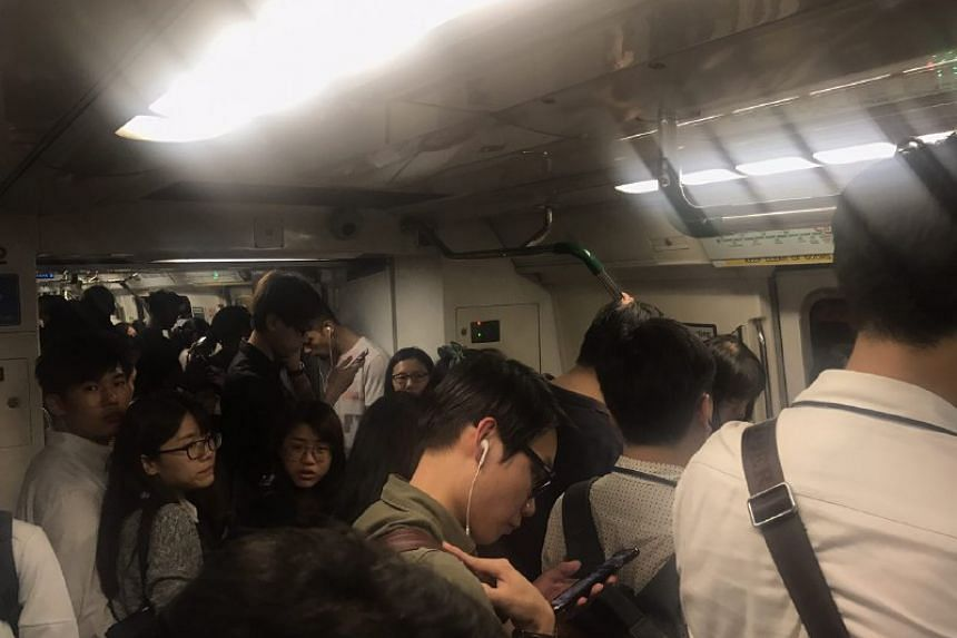 The crowded train car at Braddell station at 6.40pm.
