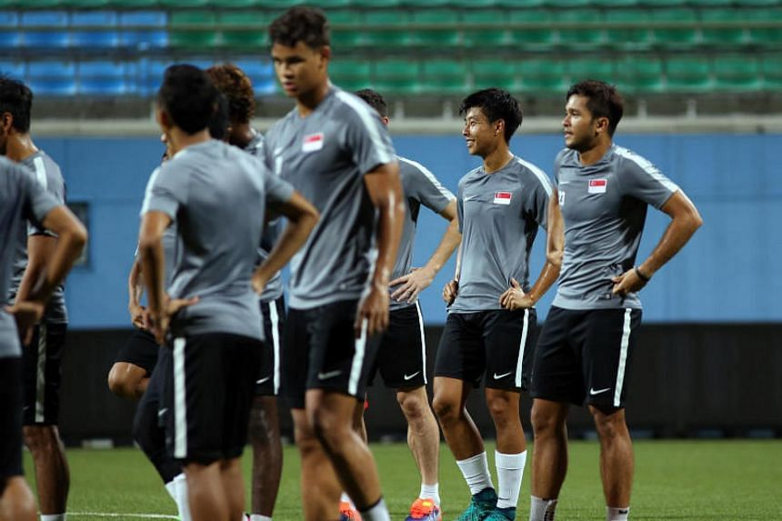 (Second from right) Defender Emmeric Ong, in Lions training at Jalan Besar Stadium on Aug 30, 2017.