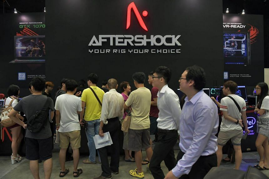isitors at the Aftershock booth on the opening day of the Comex 2017 held at the Suntec City Convention and Exhibiton Centre on Aug 31, 2017.