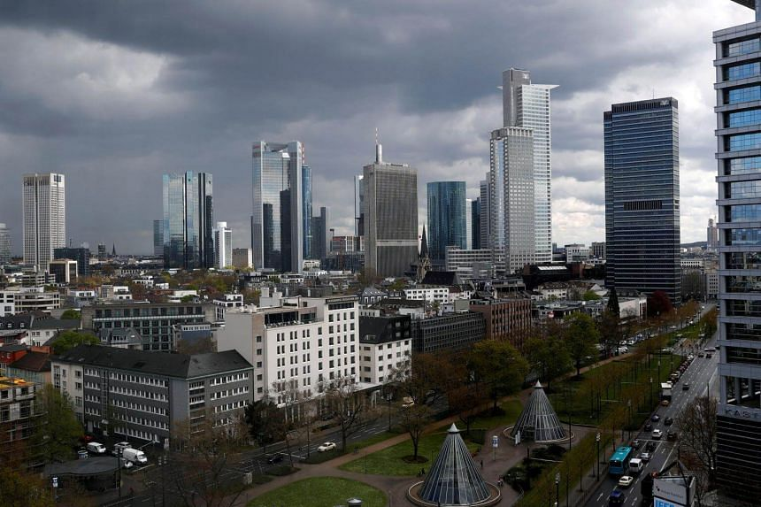 The skyline of Frankfurt, Germany on April 15, 2016.