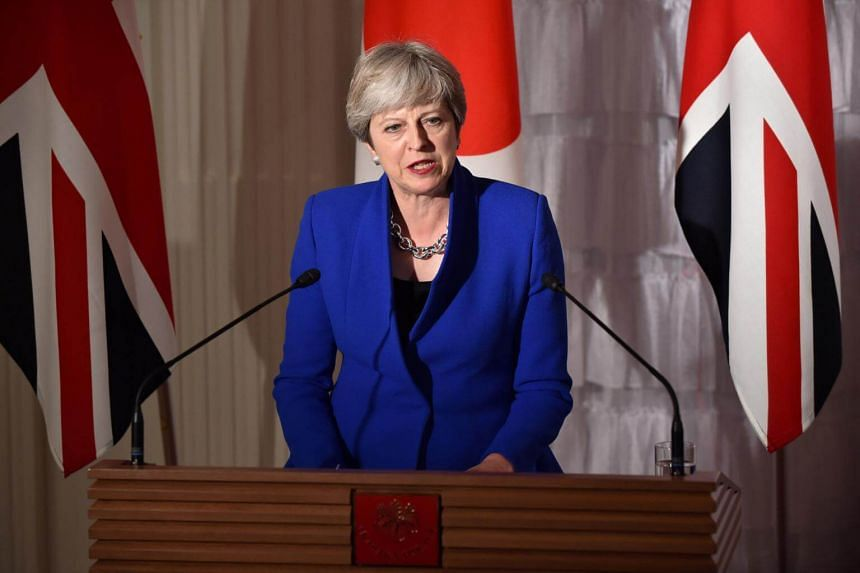 British Prime Minister Theresa May speaks during a joint press conference with her Japanese counterpart Shinzo Abe at the state guest house in Tokyo, Japan on Aug 31, 2017.