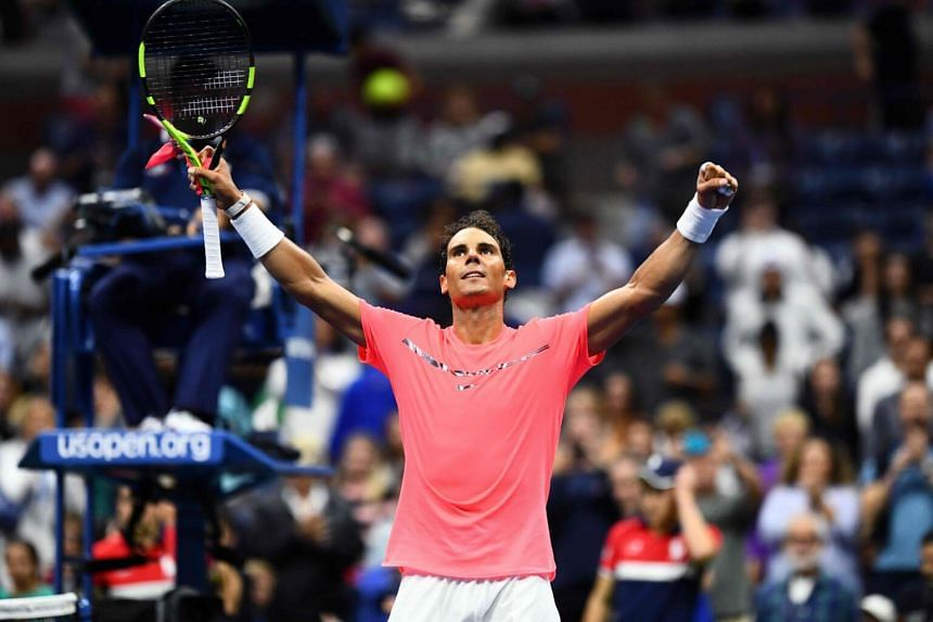 Spain's Rafael Nadal celebrates after defeating Serbia's Dusan Lajovic during their 2017 US Open Men's Singles match at the USTA Billie Jean King National Tennis Center in New York on Aug 29, 2017.
