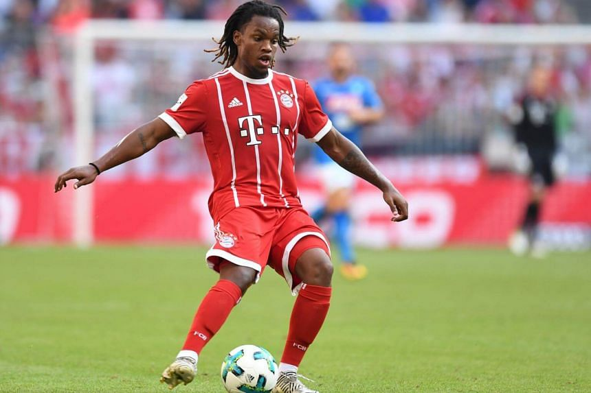 Bayern Munich's Portuguese midfielder Renato Sanches plays the ball during the third place Audi Cup football match between SSC Napoli and Bayern Munich in the stadium in Munich, southern Germany, on August 2, 2017.