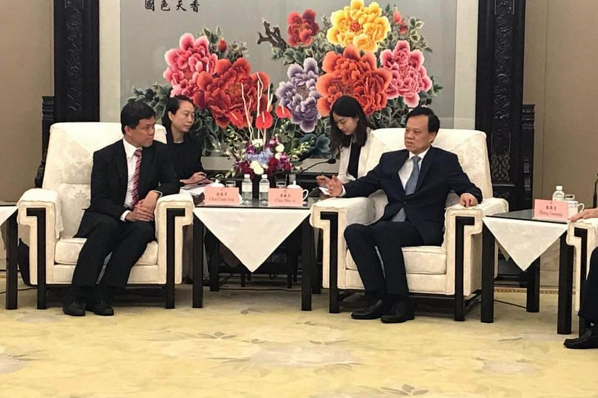 Singapore's Minister in the Prime Minister's Office Chan Chun Sing meeting with Mr Chen Min'er, China's Communist Party Secretary of Chongqing, on Thursday (Aug 31).