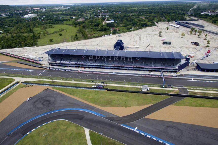 The grandstand and starting line of the Chang International Circuit, Thailand's first FIA Grade 1 approved motorsport race track, in the northeastern Thai province of Buriram on May 17,2017.