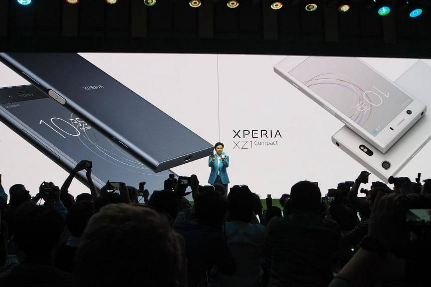 Mr Hideyuki Fumuri, executive vice president of Sony Mobile sales and marketing, launching the new Xperia XZ1 and XZ1 compact during a press conference in Berlin before IFA 2017.