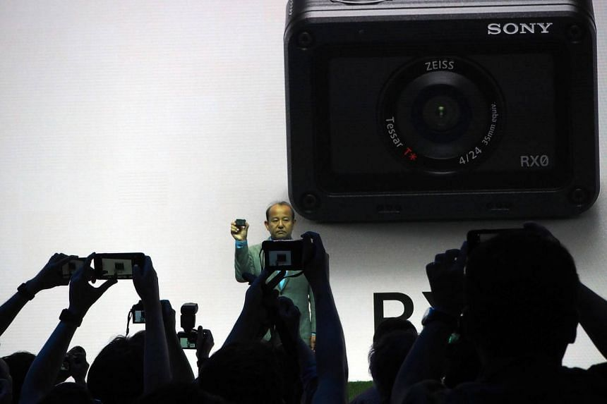 Mr Shigeru Kumekawa, president of Sony Europe, unveiled Sony's new action camera RX0, during a press conference in Berlin before IFA 2017.
