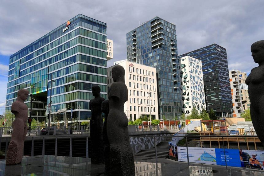 Buildings are seen in the financial district in Oslo, Norway on May 31, 2017.