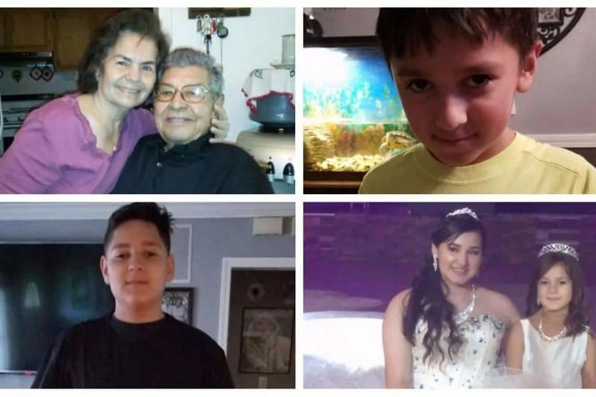 Manuel and Belia Sandivar (top left) and their four great-grandchildren: Xavier, top right, Dominic, and Devy and Daisy Saldivar.