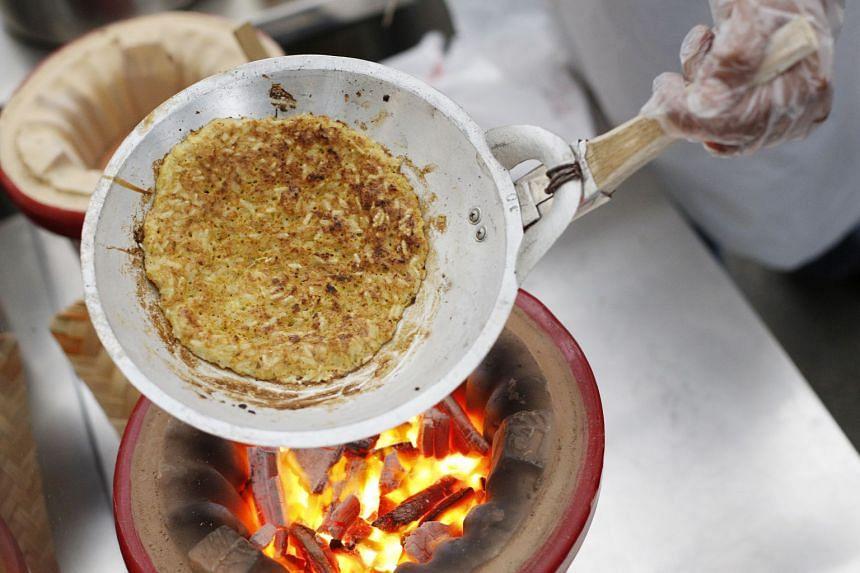 Kerak telor, an Indonesian spicy omelet.